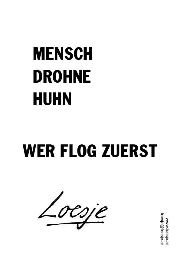 Mensch/ Drohne/ Huhn/ wer flog zuerst